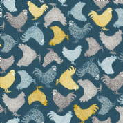 Grove by Makower UK - 6737 - Chickens on Dark Blue  - 2160_B - Cotton Fabric